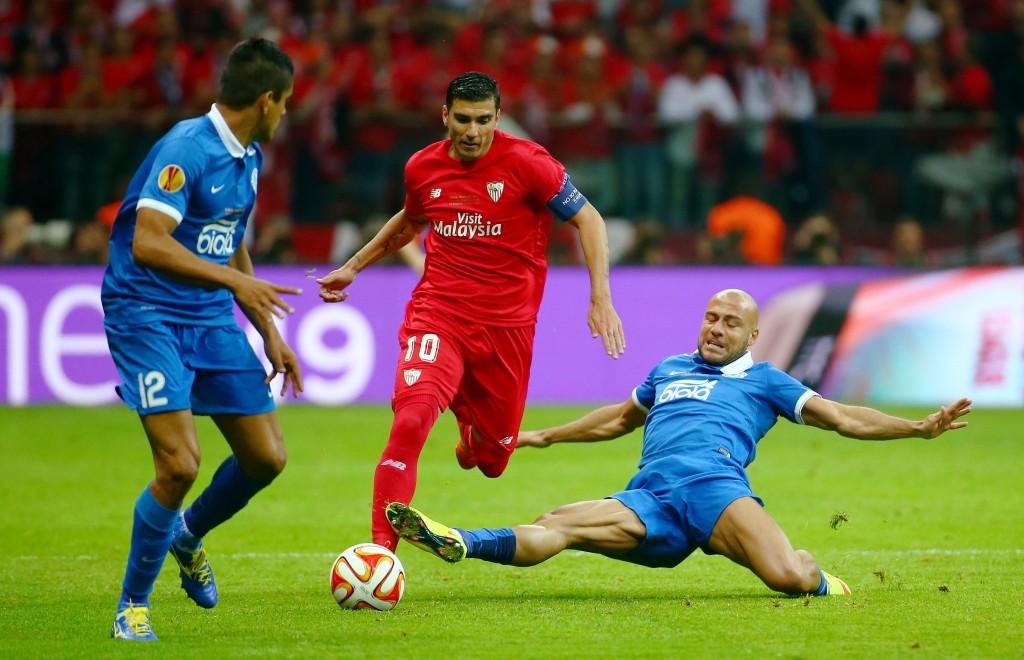 Sevilla's Jose Antonio Reyes in action with Dnipro's Jaba Kankava