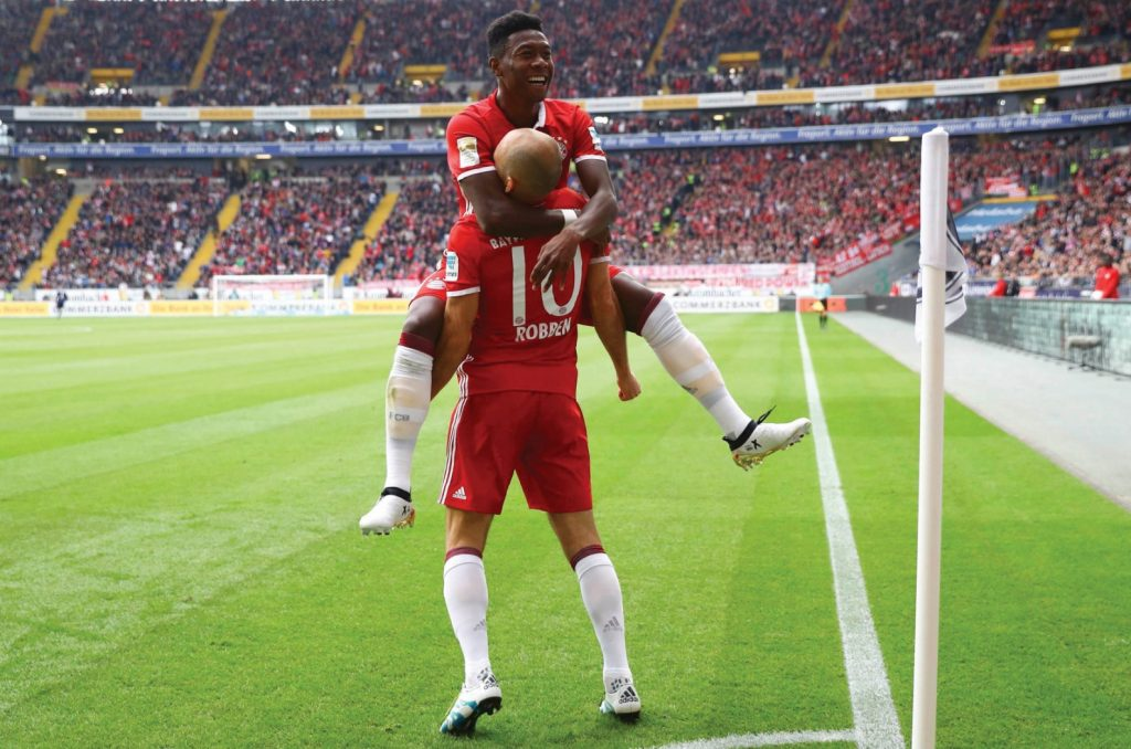 Football Soccer -  Eintracht Frankfurt v FC Bayern Munich - German Bundesliga - Commerzbank arena, Frankfurt, Germany - 15/10/16 - Bayern's Arjen Robben and David Alaba react REUTERS/Kai Pfaffenbach  DFL RULES TO LIMIT THE ONLINE USAGE DURING MATCH TIME TO 15 PICTURES PER GAME. IMAGE SEQUENCES TO SIMULATE VIDEO IS NOT ALLOWED AT ANY TIME. FOR FURTHER QUERIES PLEASE CONTACT DFL DIRECTLY AT + 49 69 650050.    Picture Supplied by Action Images
