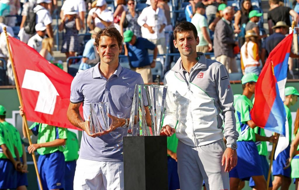 Novak Djokovic of Serbia  et Roger Federer of Switzerland  Finalistes