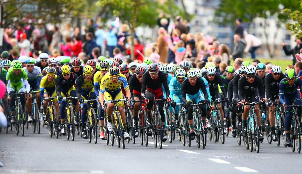 The peloton races along the Fingal roads with crowds cheering them on