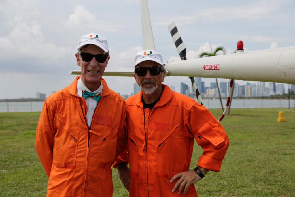 MIAMI, FLA.- Bill Nye and Roni Avissar, Dean of the Rosenstiel School of Marine and Atmospheric Science, ready to board a helicopter. (Photo Credit: NG Studios/Chris Cassel)