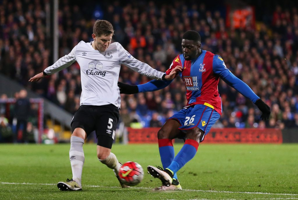 "Football Soccer - Crystal Palace v Everton - Barclays Premier League - Selhurst Park - 13/4/16 Everton's John Stones in action with Crystal Palace's Bakary Sako Action Images via Reuters / Matthew Childs Livepic EDITORIAL USE ONLY. No use with unauthorized audio, video, data, fixture lists, club/league logos or ""live"" services. Online in-match use limited to 45 images, no video emulation. No use in betting, games or single club/league/player publications.  Please contact your account representative for further details."