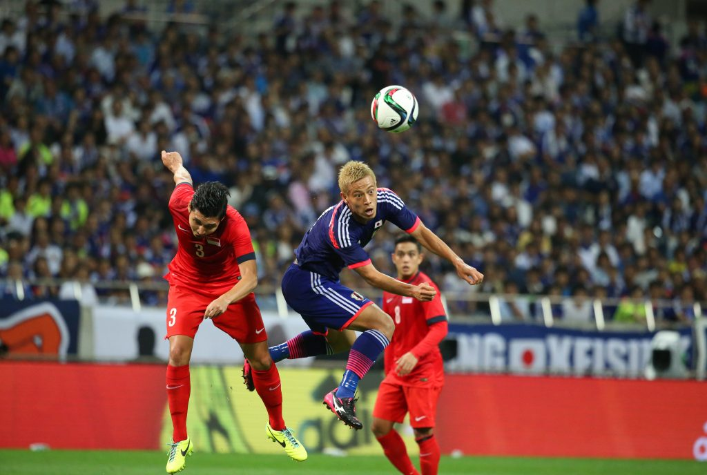 "Shaiful bin Esah (SIN), –{""cŒ—C/Keisuke Honda (JPN), JUNE 16, 2015 - Football / Soccer : FIFA World Cup Russia 2018 Asian Qualifiers Second round Group E match between Japan 0-0 Singapore at Saitama Stadium 2002 in Saitama, Japan. (Photo by Hitoshi Mochizuki/AFLO)  Picture Supplied by Action Images PLEASE NOTE: FOR EDITORIAL SALES ONLY. CONTRACT CLIENTS: ADDITIONAL FEES MAY APPLY - PLEASE CONTACT YOUR ACCOUNT MANAGER"