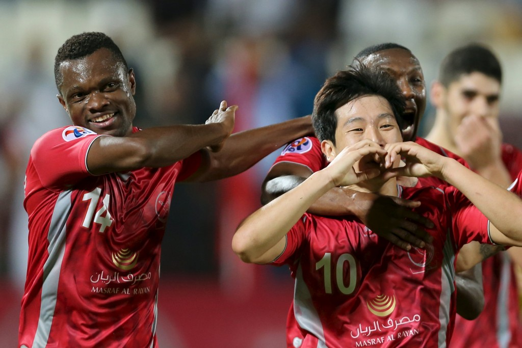 Qatar's Lekhwiya player Nam Tae Hee (10) celebrates with teammates after scoring a goal against Iran's Persepolis during their AFC Champions League soccer match at Abdullah bin Khalifa Stadium in Doha April 22, 2015. REUTERS/Fadi Al-Assaad   Picture Supplied by Action Images