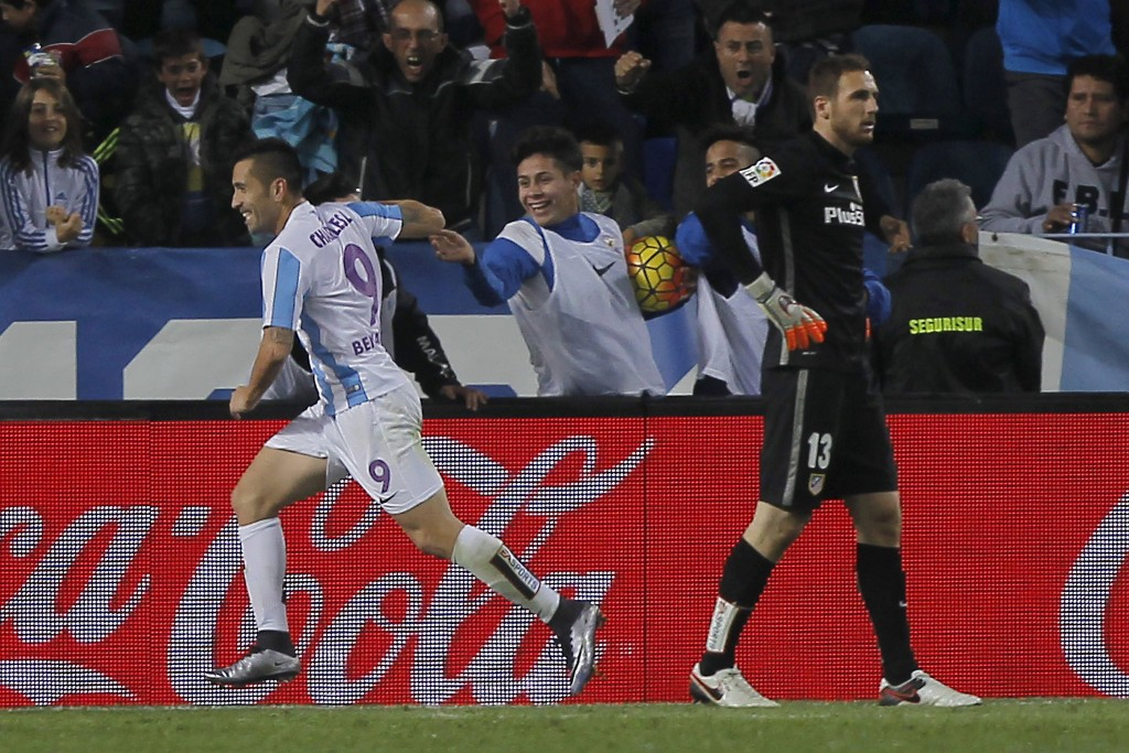 Football Soccer - Malaga v Atletico Madrid - Spanish Liga BBVA - La Rosaleda stadium, Malaga, Spain - 20/12/15 Malaga's Charles Dias (L) celebrates a goal REUTERS/Jon Nazca  Picture Supplied by Action Images