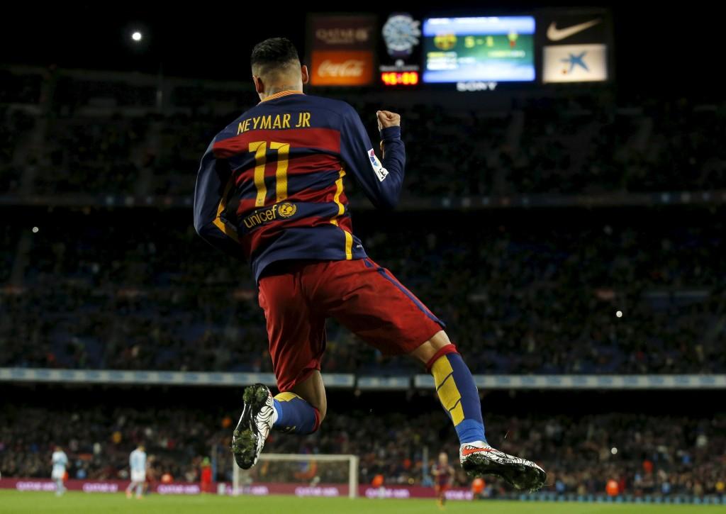 Football Soccer - Barcelona v Celta Vigo- Spanish Liga BBVA - Camp Nou stadium, Barcelona - 14/2/16Barcelona's Neymar celebrates a goal against Celta Vigo. REUTERS/Albert Gea  Picture Supplied by Action Images