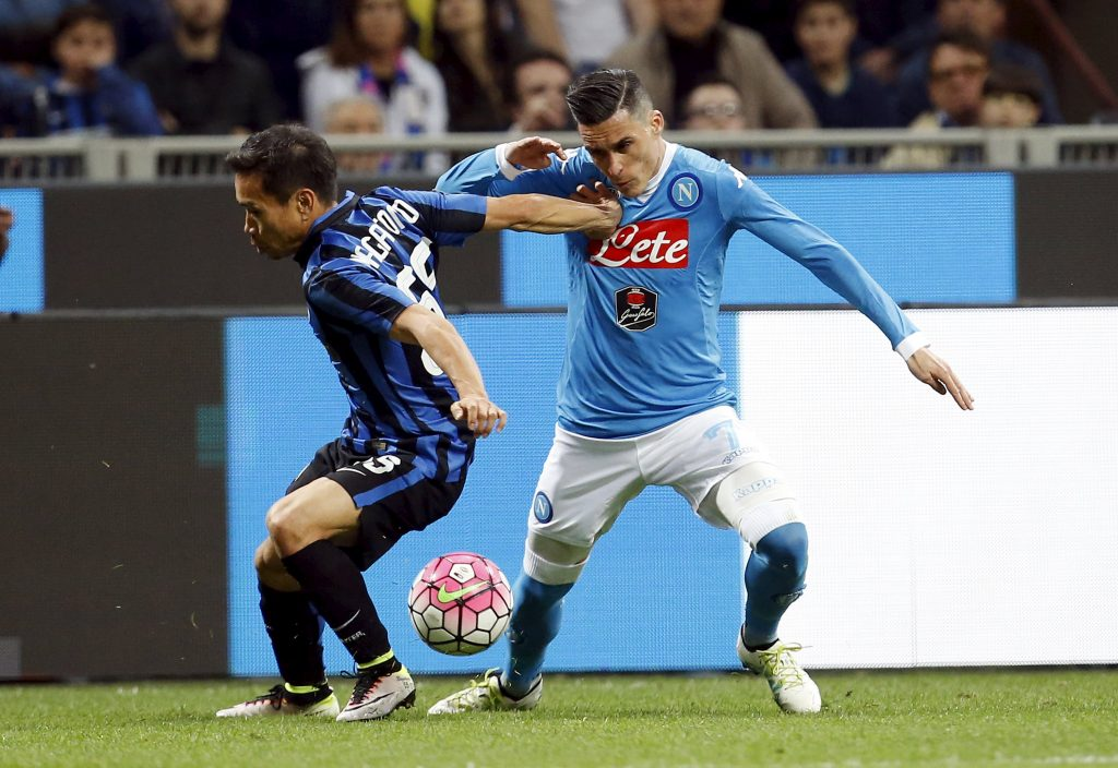 Football Soccer - Inter  Milan v Napoli  - San Siro  stadium, Milan, Italy- 16/04/16  -  Inter Milan's Yuto Nagatomo (L)  in action against Jose Callejon of Napoli.  REUTERS/Alessandro Garofalo  Picture Supplied by Action Images