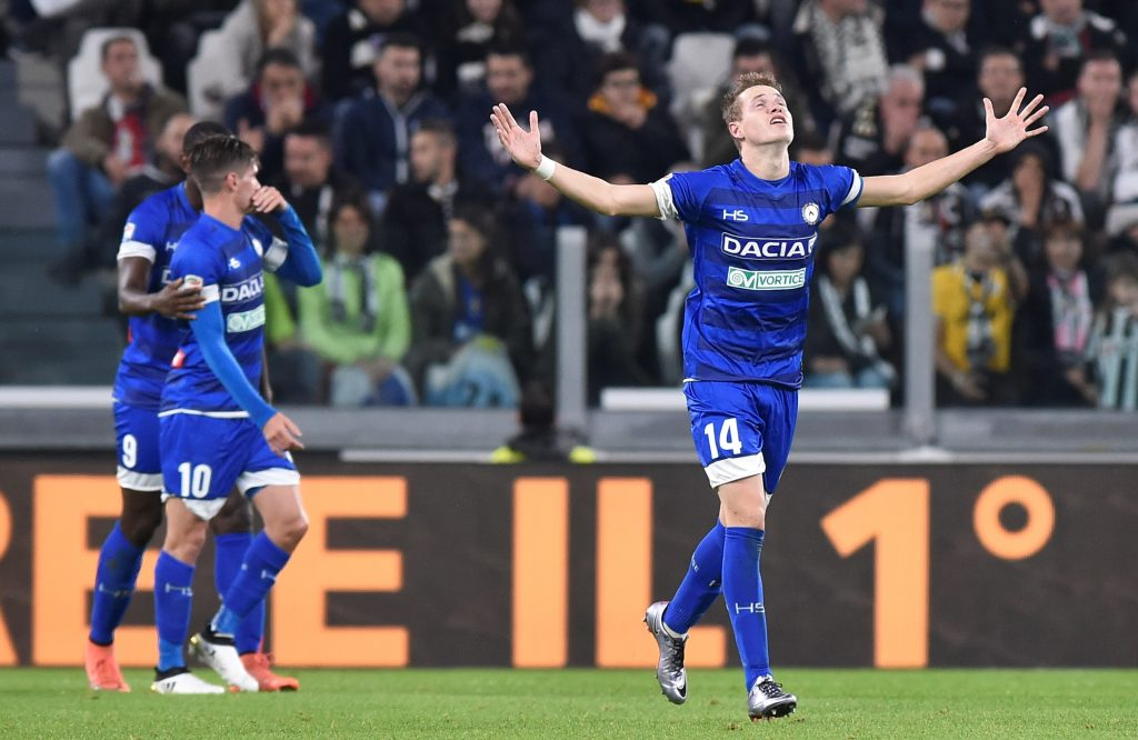 Football - Soccer - Juventus v Udinese - Italian Serie A - Juventus Stadium, Turin, Italy - 15/10/2016. Udinese's Jakub Jankto celebrates after scoring. REUTERS/Giorgio Perottino  Picture Supplied by Action Images