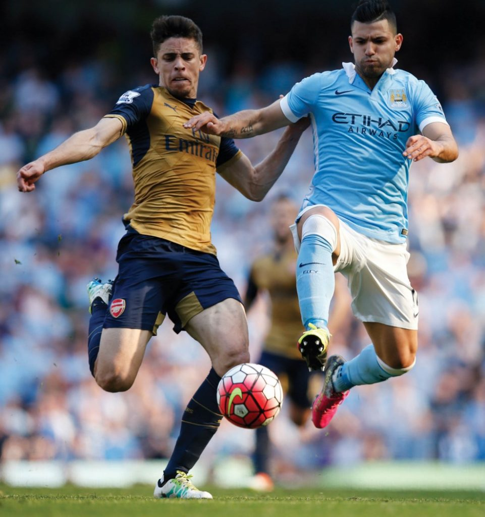 "Britain Soccer Football - Manchester City v Arsenal - Barclays Premier League - Etihad Stadium - 8/5/16 Manchester City's Sergio Aguero in action with Arsenal's Gabriel Paulista Reuters / Andrew Yates Livepic EDITORIAL USE ONLY. No use with unauthorized audio, video, data, fixture lists, club/league logos or ""live"" services. Online in-match use limited to 45 images, no video emulation. No use in betting, games or single club/league/player publications.  Please contact your account representative for further details."
