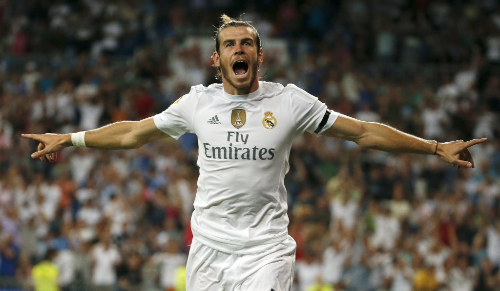 Real Madrid's Gareth Bale celebrates his goal against Real Betis during their Spanish first division soccer match at Santiago Bernabeu stadium in Madrid, Spain, August 29, 2015. REUTERS/Andrea Comas  Picture Supplied by Action Images