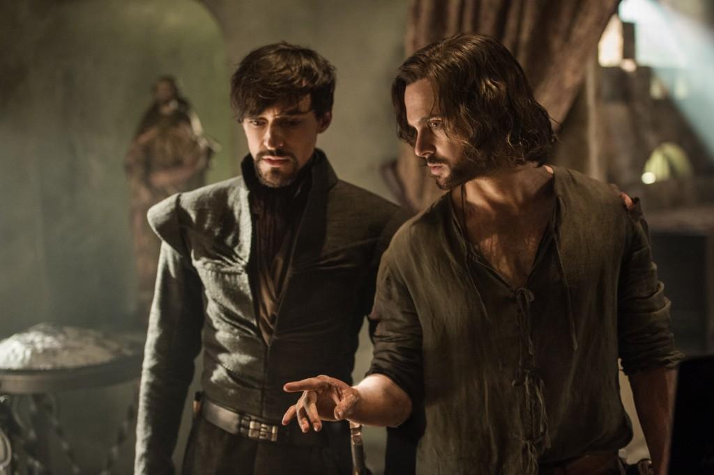 Picture shows: Count Riario (BLAKE RITSON) and Leonardo Da Vinci (TOM RILEY)