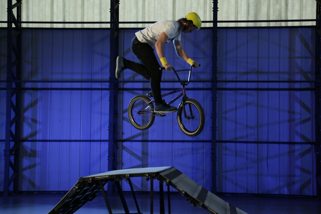 ESSEX, ENGLAND - Sean Jenkins performs Tailwhip on a BMX Bike showing Optimum Trajectory.(photo credit:  National Geographic Channels/Myles Warwood)