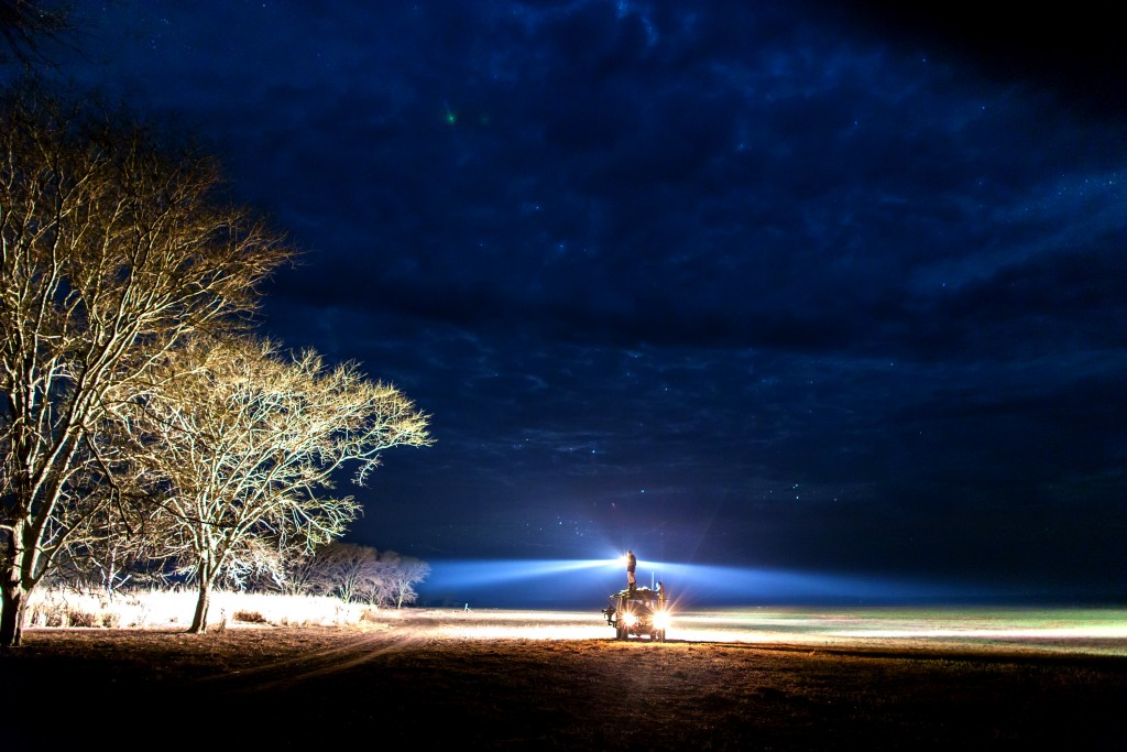 MOZAMBIQUE - Bob runs the nightshift looking for lions on the floodplain. Gorongosa National Park, Mozambique. (National Geographic Channels/Eric Rochner)