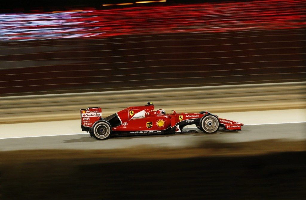 Formula One - F1 - Bahrain Grand Prix 2015 - Bahrain International Circuit, Sakhir, Manama, Bahrain - 19/4/15 Ferrari's Kimi Raikkonen during the Bahrain Grand Prix Action Images via Reuters / Hoch Zwei Livepic EDITORIAL USE ONLY. PLEASE NOTE: FOR UK EDITORIAL SALES ONLY. FOR ALL OTHER USAGE ADDITIONAL FEES WILL APPLY - PLEASE CONTACT YOUR ACCOUNT MANAGER. *** Local Caption *** --