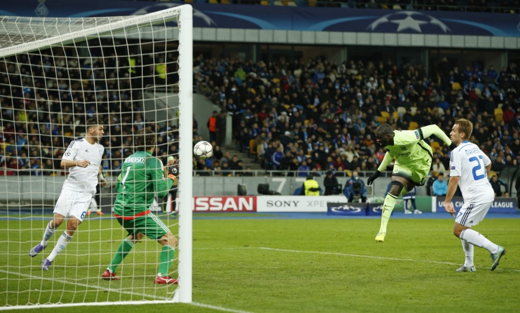 Football Soccer - Dynamo Kiev v Manchester City - UEFA Champions League Round of 16 First Leg - NSC Olimpiyskiy Stadium, Kiev, Ukraine - 24/2/16 Manchester City's Yaya Toure heads wide Action Images via Reuters / John Sibley Livepic EDITORIAL USE ONLY.
