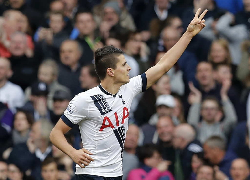"""Football Soccer - Tottenham Hotspur v Manchester United - Barclays Premier League - White Hart Lane - 10/4/16 Erik Lamela celebrates after scoring the third goal for Tottenham Reuters / Eddie Keogh Livepic EDITORIAL USE ONLY. No use with unauthorized audio, video, data, fixture lists, club/league logos or """"live"""" services. Online in-match use limited to 45 images, no video emulation. No use in betting, games or single club/league/player publications.  Please contact your account representative for further details."""