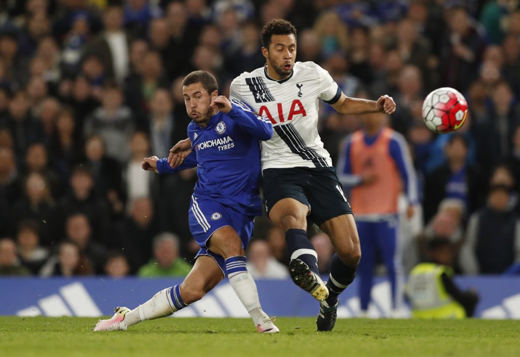 "Britain Football Soccer - Chelsea v Tottenham Hotspur - Barclays Premier League - Stamford Bridge - 2/5/16 Chelsea's Eden Hazard scores their second goal Action Images via Reuters / John Sibley Livepic EDITORIAL USE ONLY. No use with unauthorized audio, video, data, fixture lists, club/league logos or ""live"" services. Online in-match use limited to 45 images, no video emulation. No use in betting, games or single club/league/player publications.  Please contact your account representative for further details."