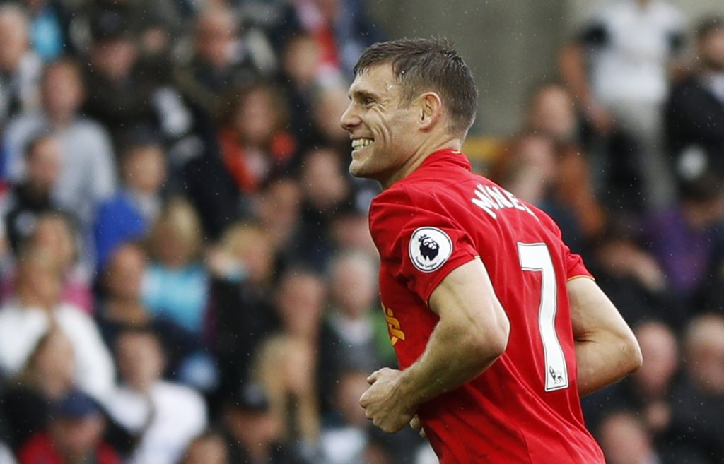 Britain Soccer Football - Swansea City v Liverpool - Premier League - Liberty Stadium - 1/10/16 Liverpool's James Milner celebrates scoring their second goal  Action Images via Reuters / John Sibley Livepic EDITORIAL USE ONLY.
