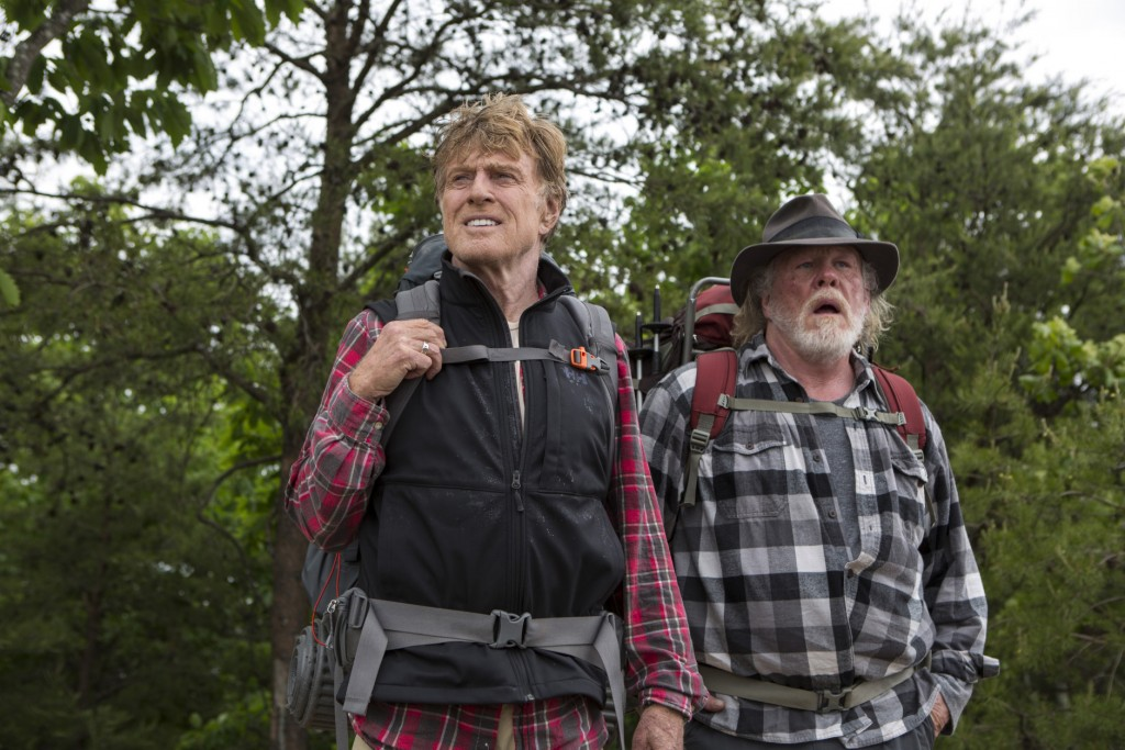 """This photo provided by Broad Green Pictures shows, Robert Redford, left, as Bill Bryson, and Nick Nolte as Stephen Katz, in the film, """"A Walk in the Woods."""" Redford co-stars with Nolte and Emma Thompson in the movie which releases in U.S. theaters on Sept. 2, 2015. (Frank Masi, SMPSP/Broad Green Pictures via AP)"""