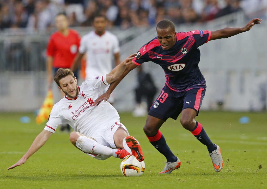 Bordeaux's Nicolas Maurice-Belay (R) is challenged by Liverpool's Adam Lallana during their Europa League Group B soccer match at Matmut Atlantique stadium in Bordeaux, France, September 17, 2015.      REUTERS/Regis Duvignau   Picture Supplied by Action Images