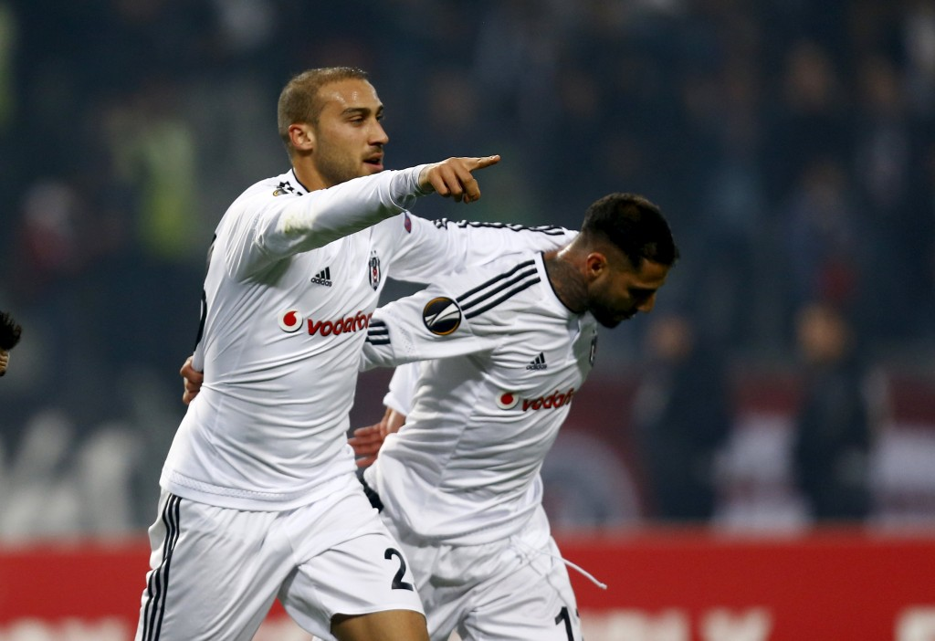 Football Soccer - Besiktas v Skenderbeu- Europa League Group Stage - Group H - Ataturk stadium, Istanbul, Turkey - 26/11/15. Besiktas' Cenk Tosun (L), and Ricardo Quaresma celebrate the goal against Skaenderbeu. Reuters/Osman Orsal  Picture Supplied by Action Images