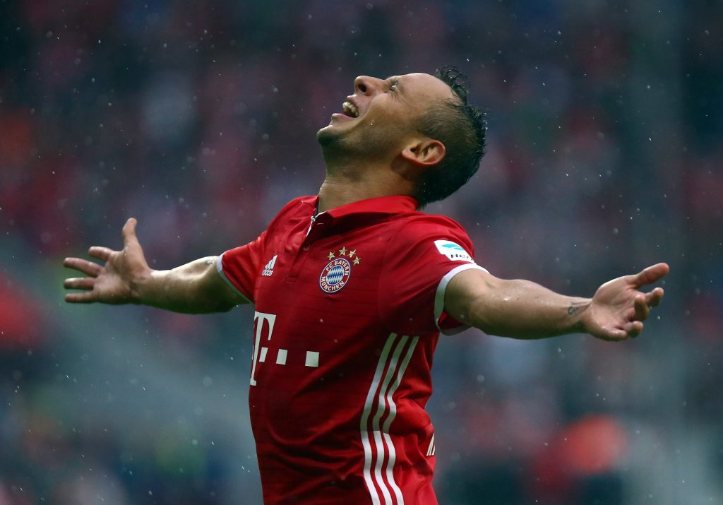 Football Soccer - Bayern Munich v FC Ingolstadt 04 - German Bundesliga - Allianz-Arena, Munich, Germany - 17/09/16 Bayern Munich's Rafinha celebrates. REUTERS/Michael Dalder. DFL RULES TO LIMIT THE ONLINE USAGE DURING MATCH TIME TO 15 PICTURES PER GAME. IMAGE SEQUENCES TO SIMULATE VIDEO IS NOT ALLOWED AT ANY TIME. FOR FURTHER QUERIES PLEASE CONTACT DFL DIRECTLY AT + 49 69 650050  Picture Supplied by Action Images