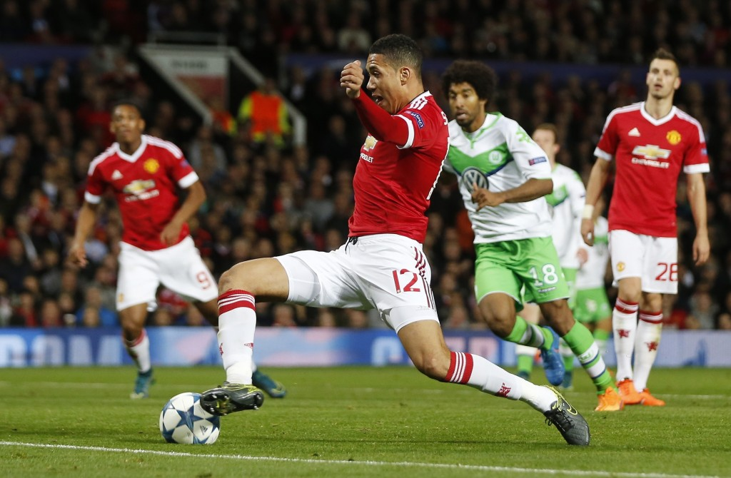 Football - Manchester United v VfL Wolfsburg - UEFA Champions League Group Stage - Group B - Old Trafford, Manchester, England - 30/9/15 Chris Smalling scores the second goal for Manchester United  Action Images via Reuters / Lee Smith Livepic EDITORIAL USE ONLY.