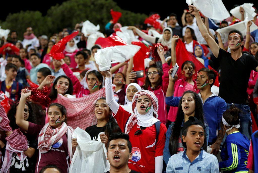 Football Soccer - Jordan vs Spain - U-17 Women's World Cup - Amman, Jordan - 30/9/16 Jordan's fans cheer during the match. REUTERS/Muhammad Hamed  Picture Supplied by Action Images