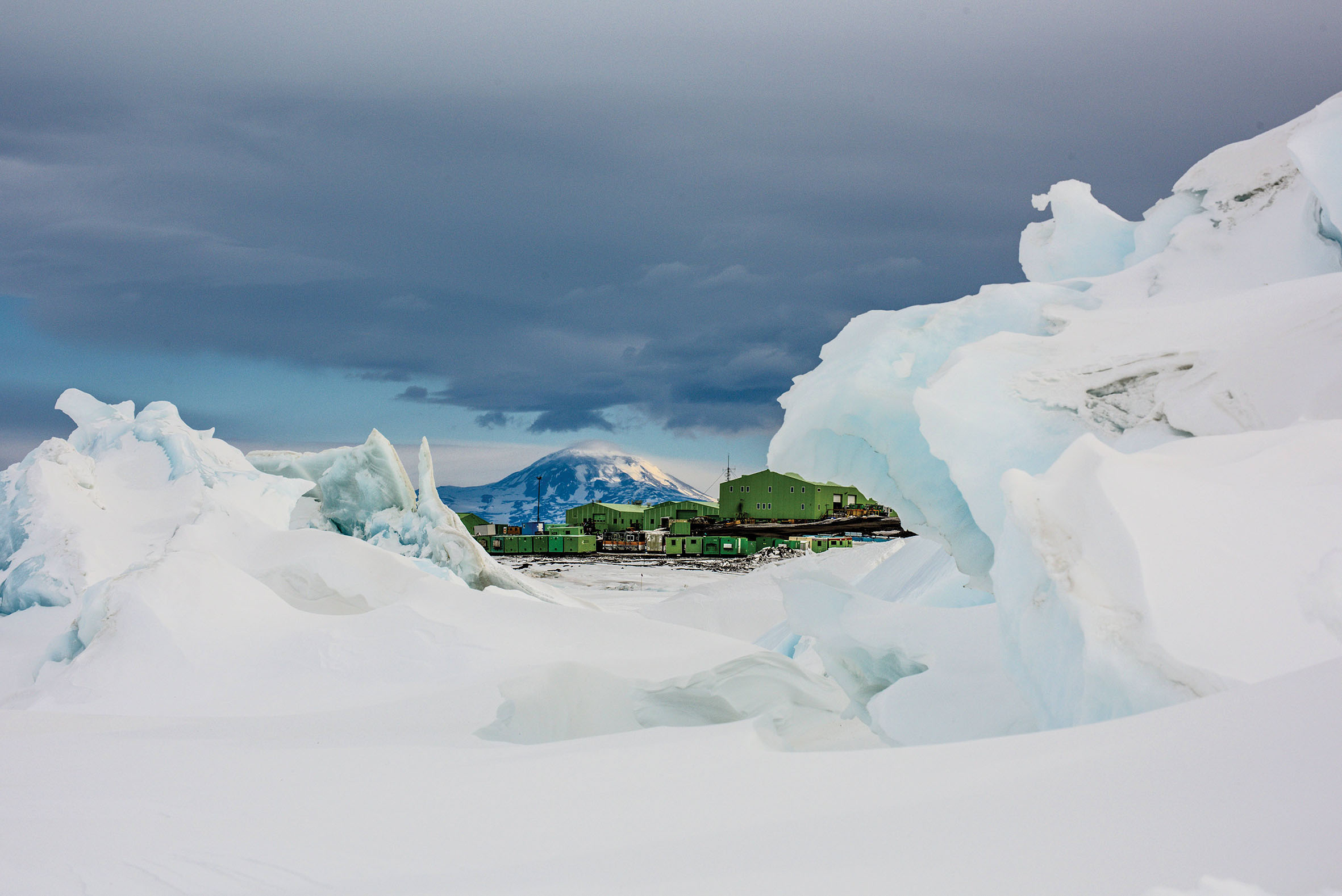 ANTARCTICA- Scenic photo of the Antarctic landscape, with Scott Base in the background. (Photo credit: NG Studios/Marcus Arnold)